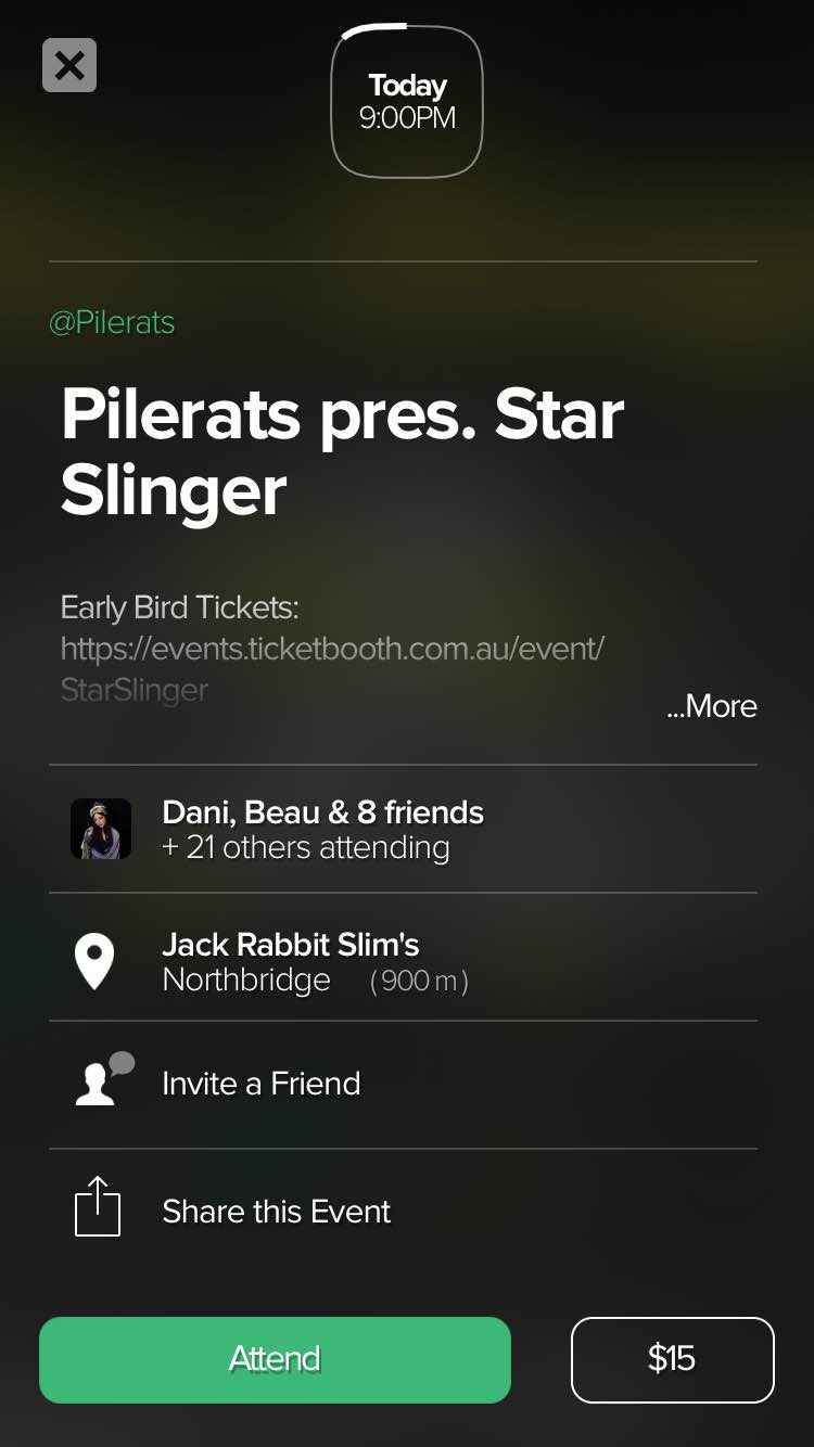 From here you can click 'attend' and get more information about the event. You can expand each section of this page to get more details about the event description, the guest list and the location. You can also invite friends and share the event from this screen.