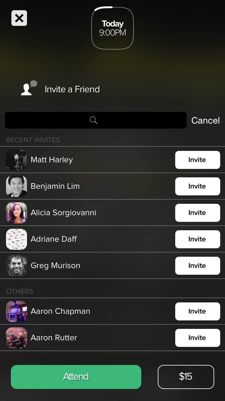 If you think a friend would like the event that you're looking at, you can invite them along.